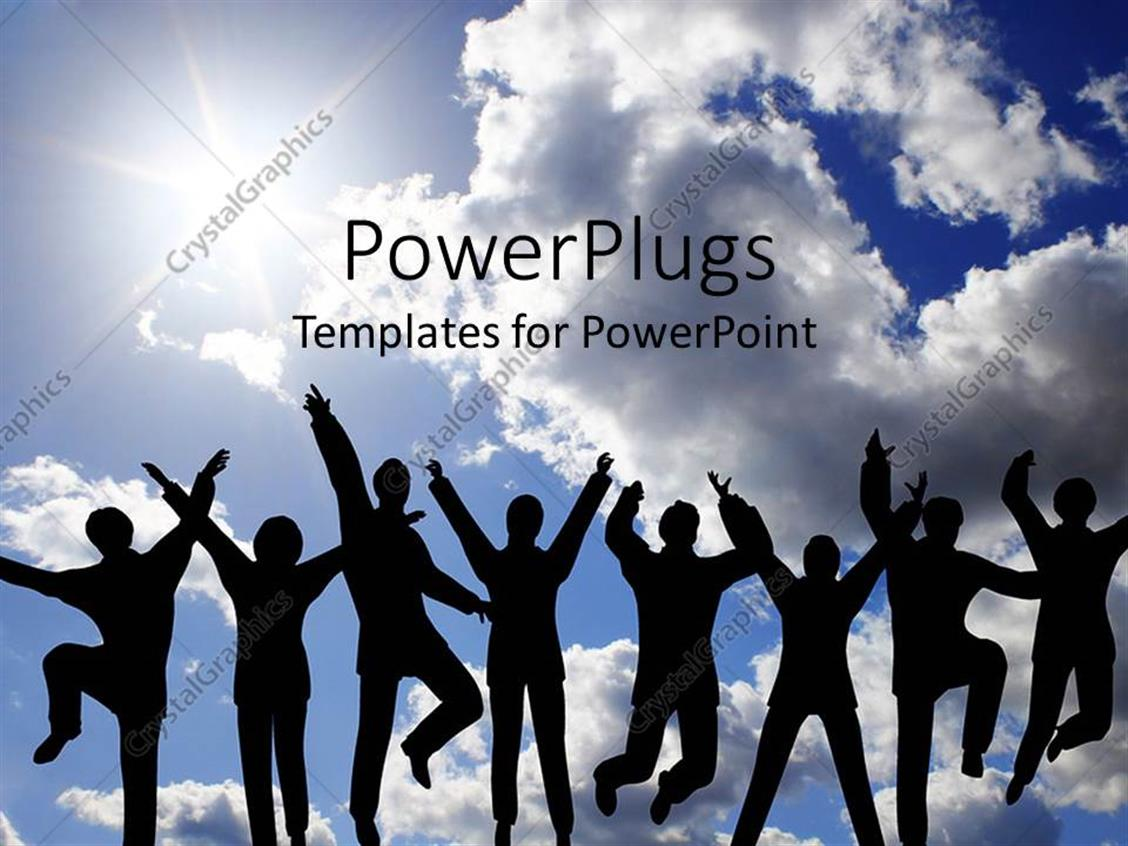 PowerPoint Template Displaying Eight Humans Jumping with a Clear Shiny Sky Background