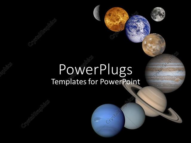 powerpoint template all eight planets lined up in space galaxy moon