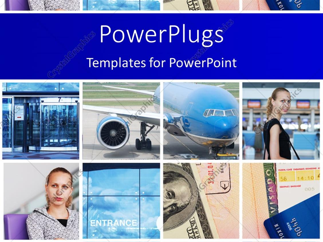 PowerPoint Template Displaying Eight Tiles with Ladies, an Airplane and a Dollar Bill