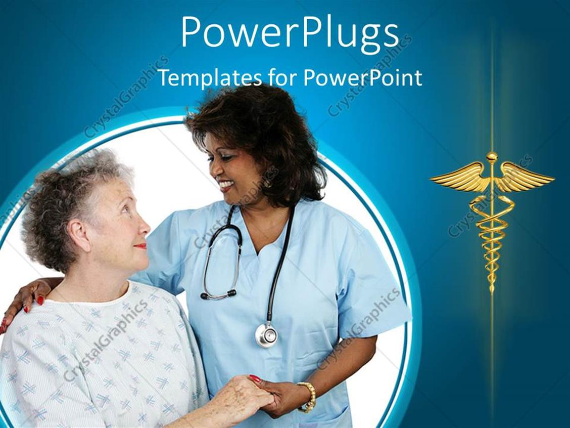 Powerpoint Template Elderly Patient Holding Hands With A Nurse 16210