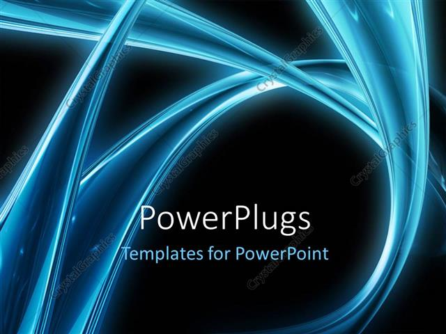 Powerpoint Template Electric Blue Curves On Black