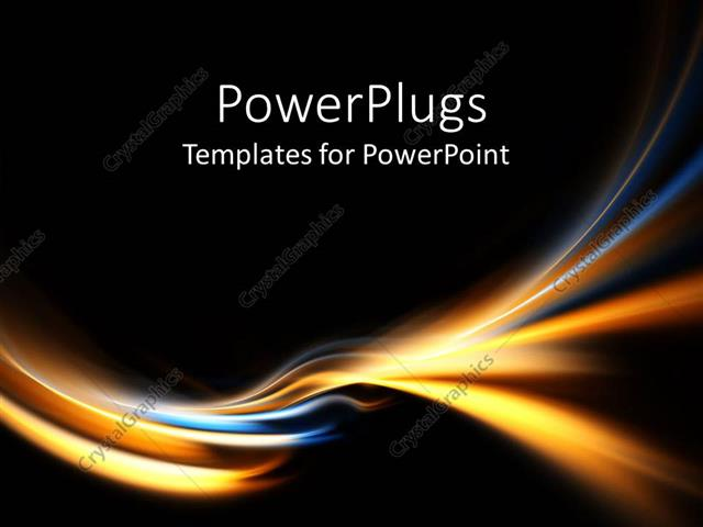 Powerpoint Template Electric Blue And Gold Curves On Black