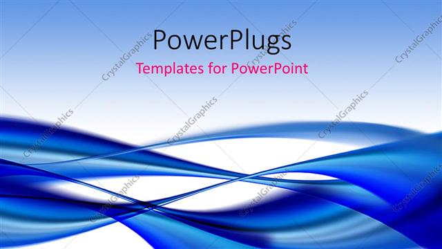 PowerPoint Template Displaying Elegant Dark Blue Flowing Curves with White Color