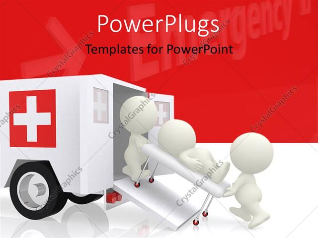Powerpoint template emergency ambulance with doctors assisting a powerpoint template displaying emergency ambulance with doctors assisting a patient on stretcher with medical symbol toneelgroepblik