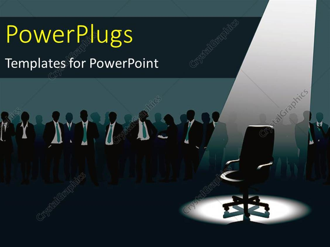 PowerPoint Template Displaying Empty Chair Under Light and Crowd of People with Aspirations