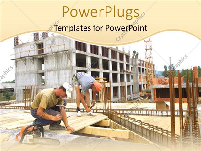 Powerpoint template engineer construction two worker woking on a powerpoint template displaying engineer construction two worker woking on a building carpenter work toneelgroepblik Image collections