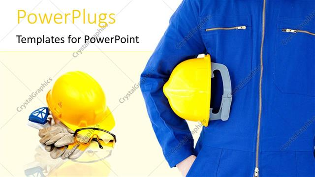Powerpoint Template Engineer With Safety Helmet In Foreground With