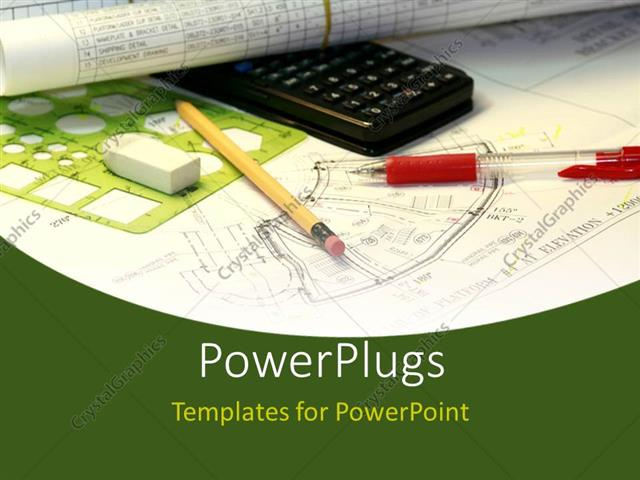 Powerpoint Template An Engineering Sketch With A Black Calculator