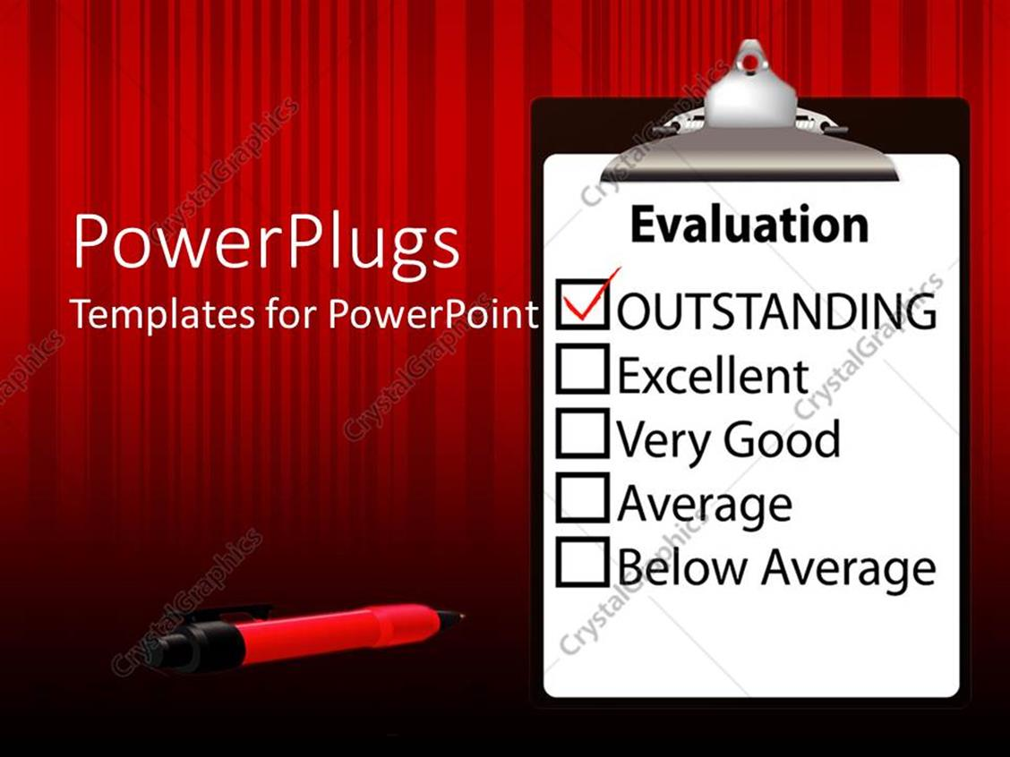 PowerPoint Template Displaying Evaluation Paper on Clipboard with Outstanding Mark Checked with Red Check Mark and Red Ink Pen on Red Striped