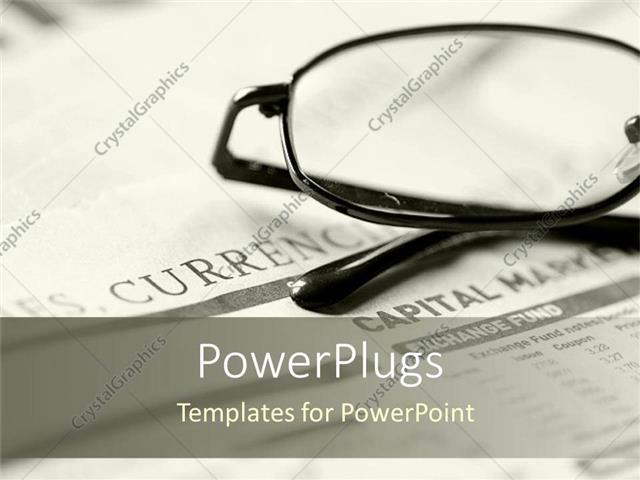 PowerPoint Template Displaying Eye Glasses Placed on Newspaper for Reading