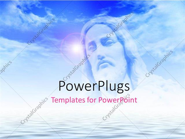Powerpoint Template The Face Of Jesus With Clouds In The Background