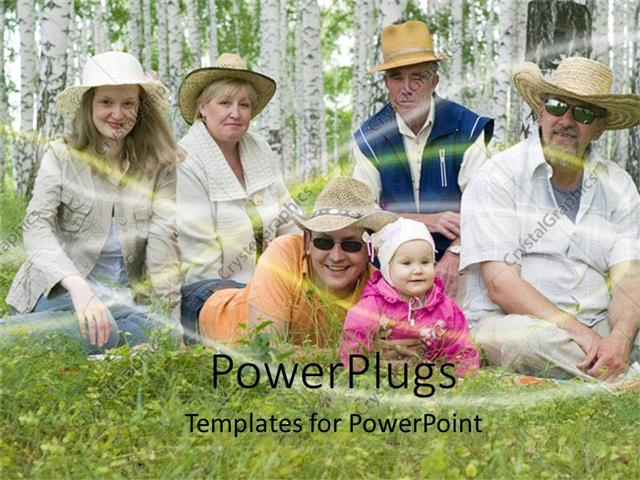 PowerPoint Template Displaying Family in the Forest Scenery, Baby with Parents and Grandparents