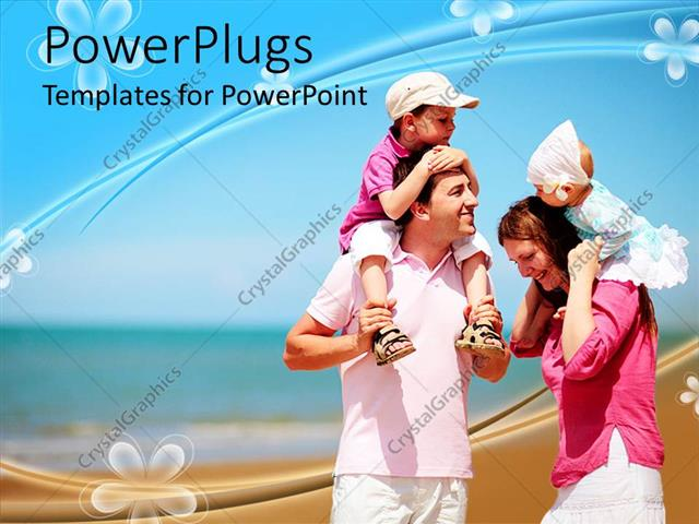 PowerPoint Template Displaying Family with Mother, Father, Boy and Baby Girl at the Beach, Vacation, Travel