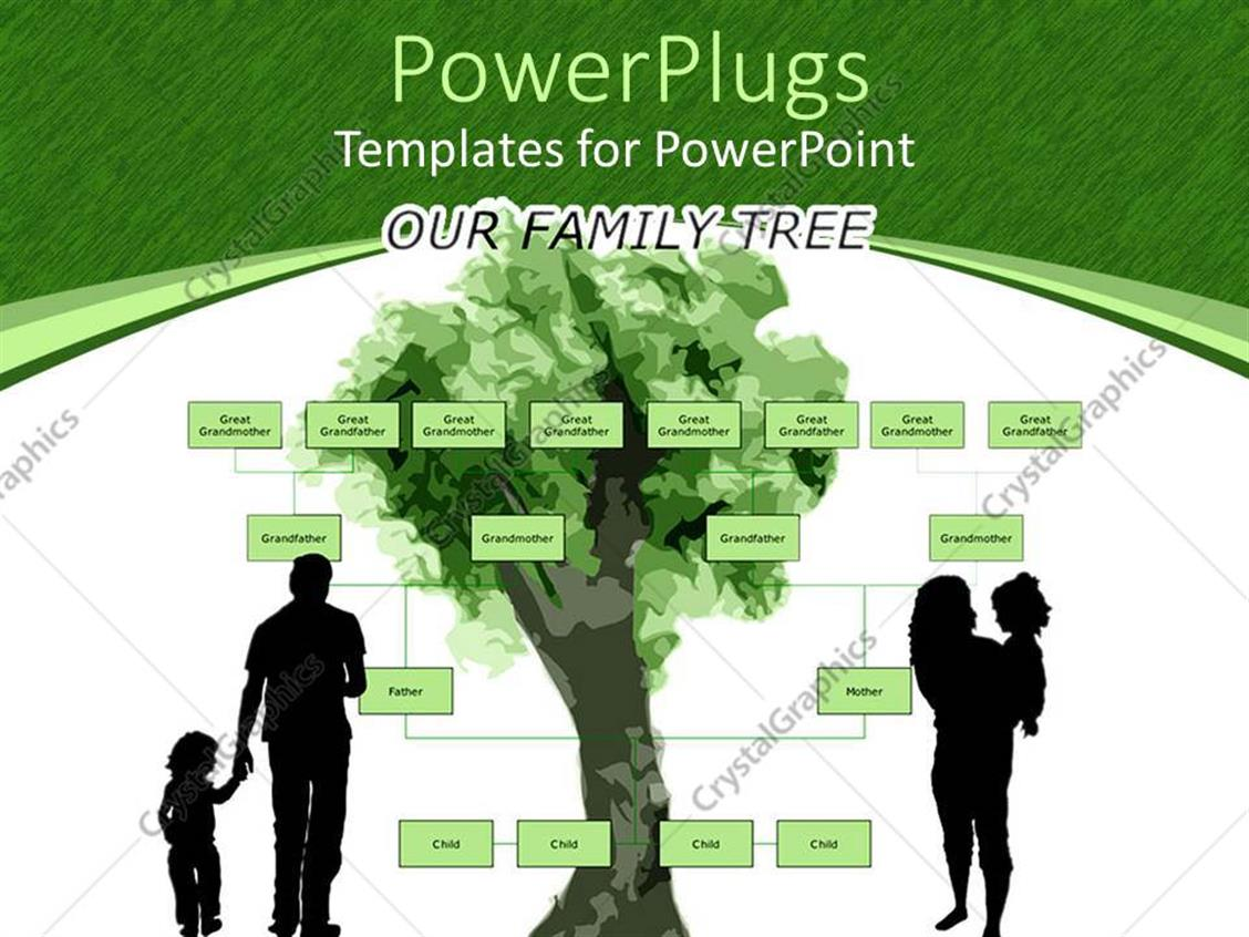 Powerpoint Template Family Tree With Parents Holding Kids On Green