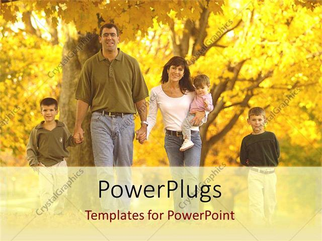 PowerPoint Template Displaying Family with Two Sons, Father, Mother, Baby with Fall Maple Trees, Sons, Children, Kids, Parenting