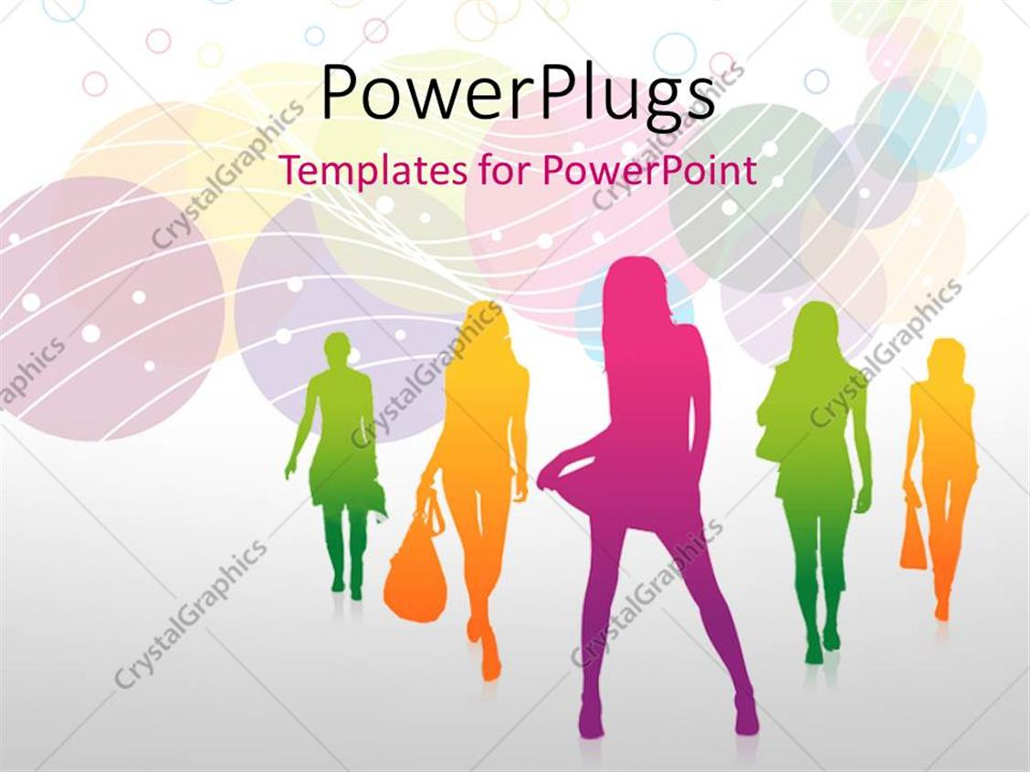 Powerpoint Template Fashion Silhouettes With Multi Color