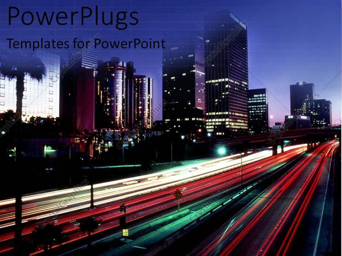 Powerpoint Template Fast Paced Traffic And City Buildings