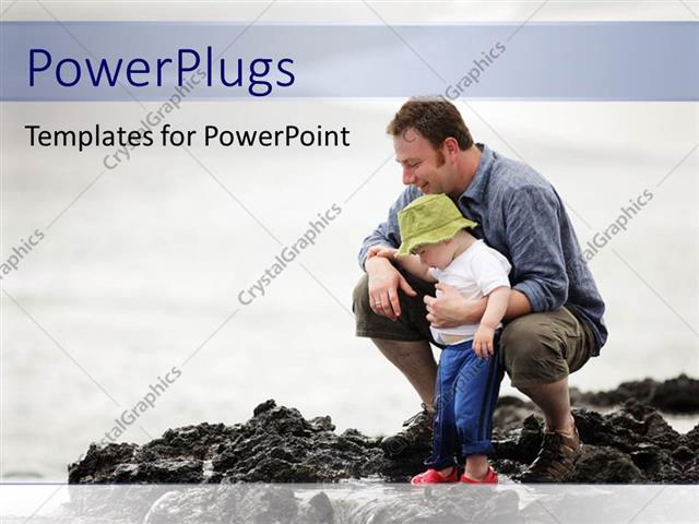 PowerPoint Template Displaying Father with little Son Enjoying with Water