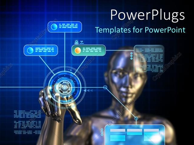 Powerpoint Template Female Android Using A Futuristic Digital