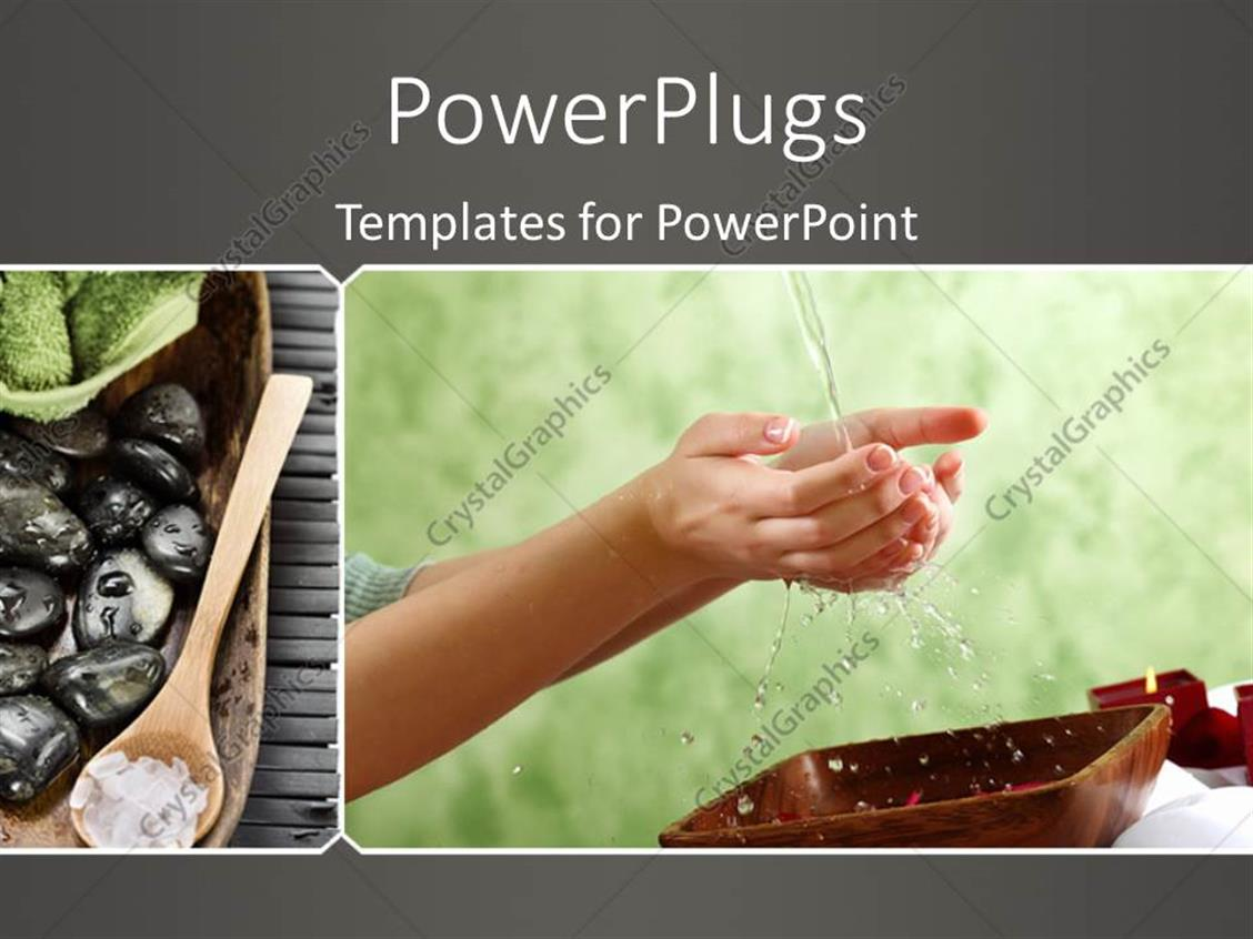 PowerPoint Template Displaying Female Hands and Manicure Related Objects in Spa Salon with Grey Color