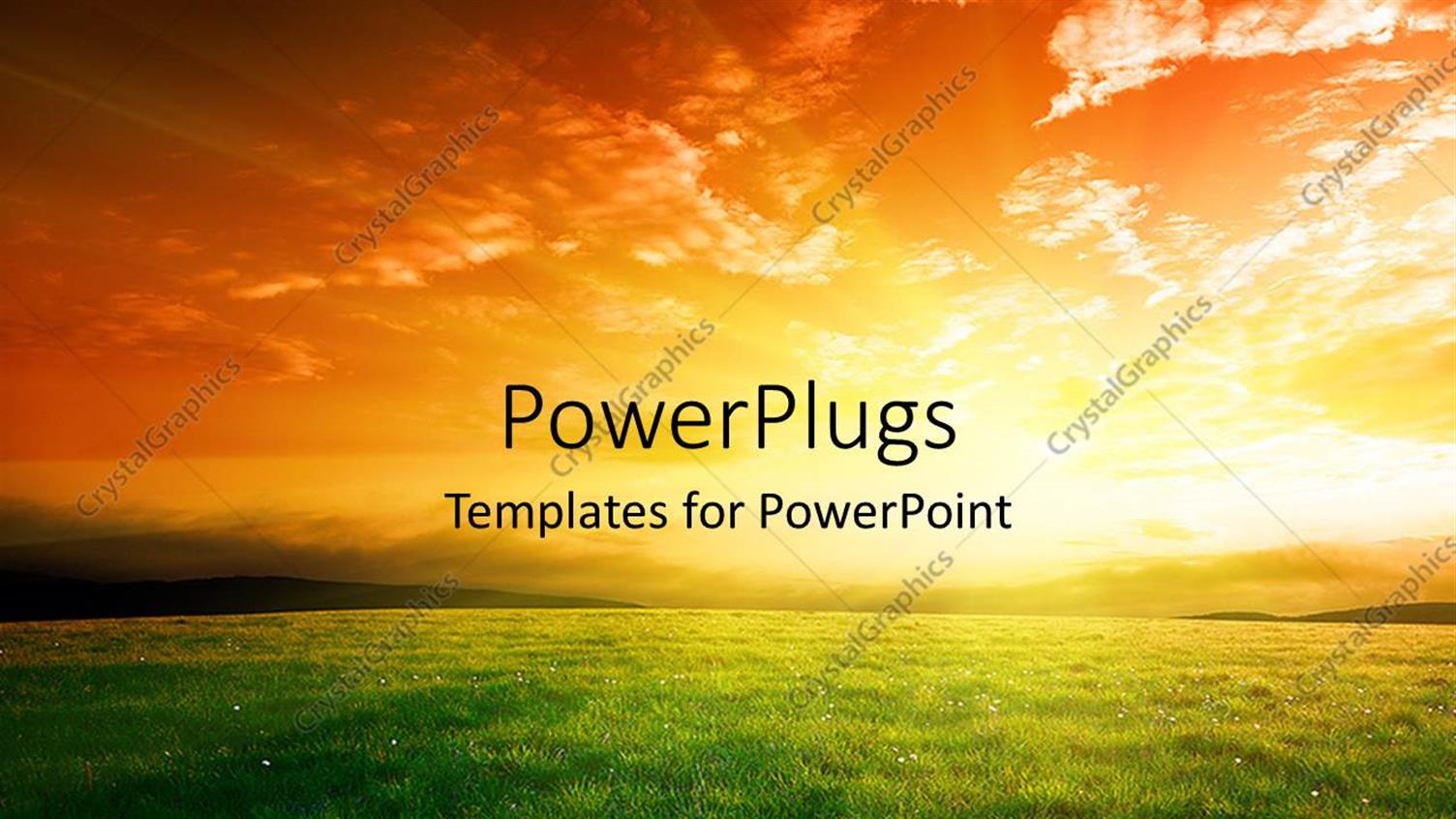 PowerPoint Template Displaying a Sun in the Background with a Lot of Grass in Front