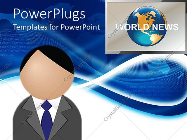 PowerPoint Template: figure head presenting world news with