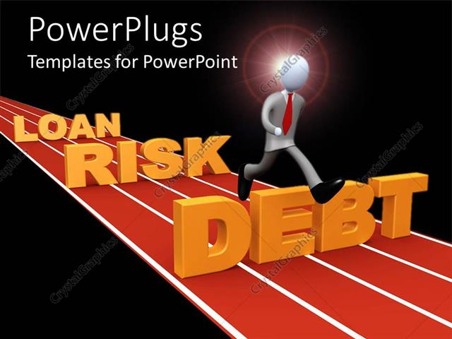 PowerPoint Template Displaying a Figure Running on a Race Track Regarding Finance