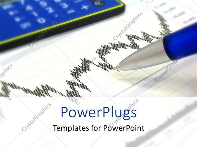 Powerpoint Template Financial Chart With Pen Calculator Finance