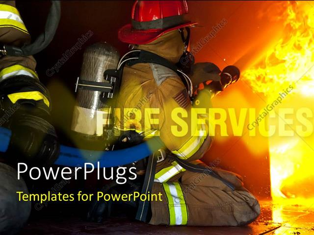powerpoint template firefighters attack a fire in a training prop