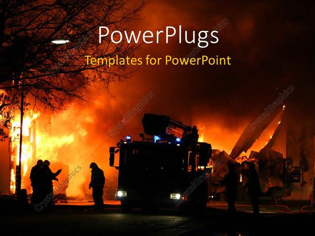 powerpoint template firemen at work during a major fire 12298