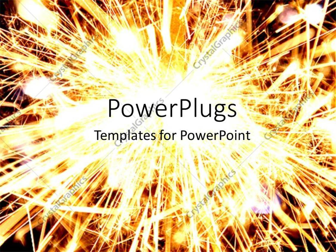 PowerPoint Template Displaying Fireworks, Sparklers, Sparks, Explosion, Gold Light