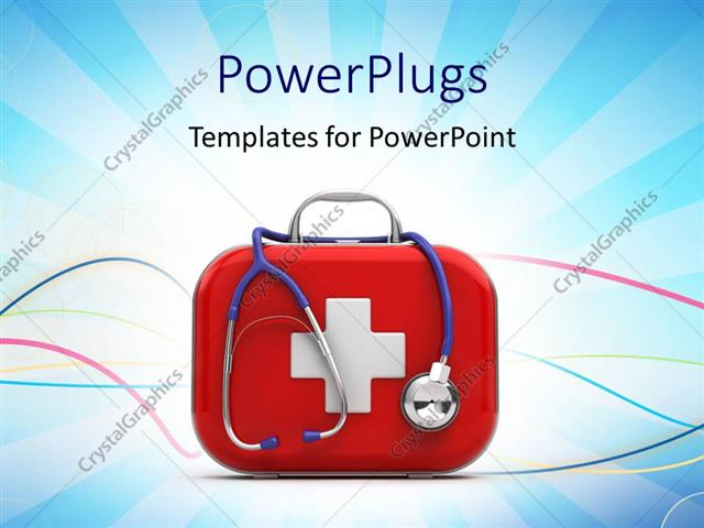Powerpoint Template First Aid Box And Stethoscope With Medical