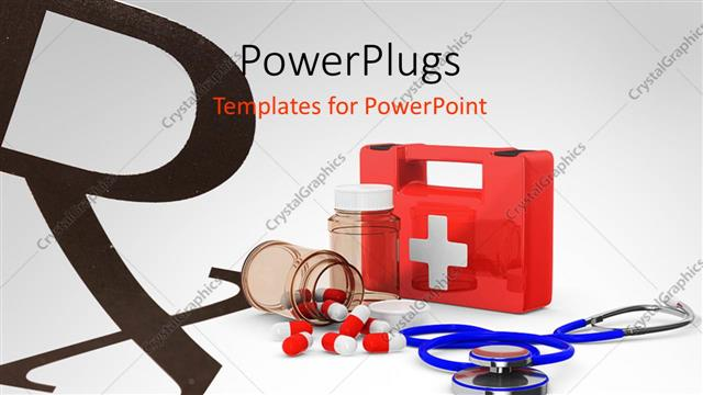 Powerpoint Template A First Aid Kit Placed Along With Medicines And