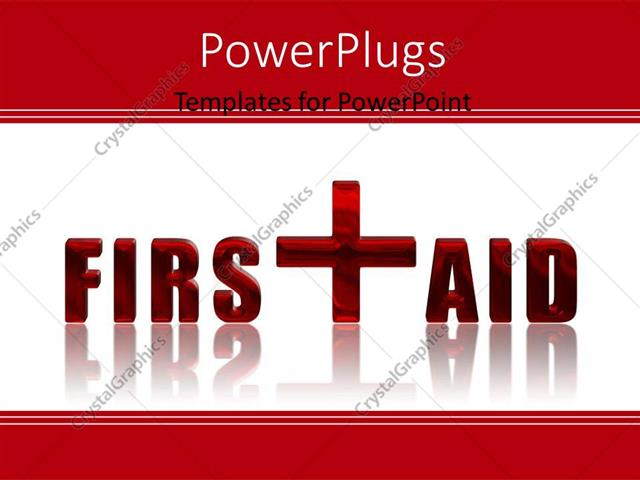 Powerpoint Template First Aid Reflected 3d Text Over White
