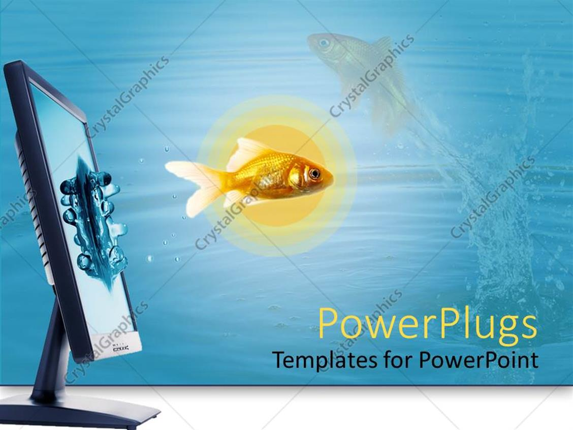 PowerPoint Template Displaying a Fish Coming Out of a Monitor Screen with its Reflection in the Background