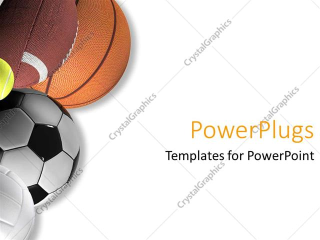 Powerpoint Template Five Different Types Of Sport Balls On A White