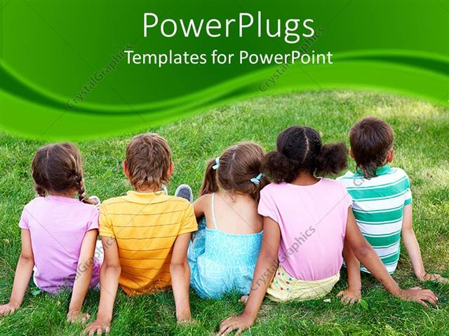 PowerPoint Template Displaying Five Kids Sitting on Grass on a Green Background