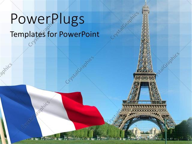 Powerpoint Template Flag And Eiffel Tower In Paris 12952