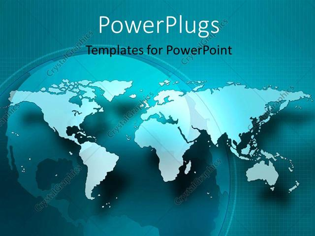 Powerpoint Template A Flat World Map On A Blue Colored Background