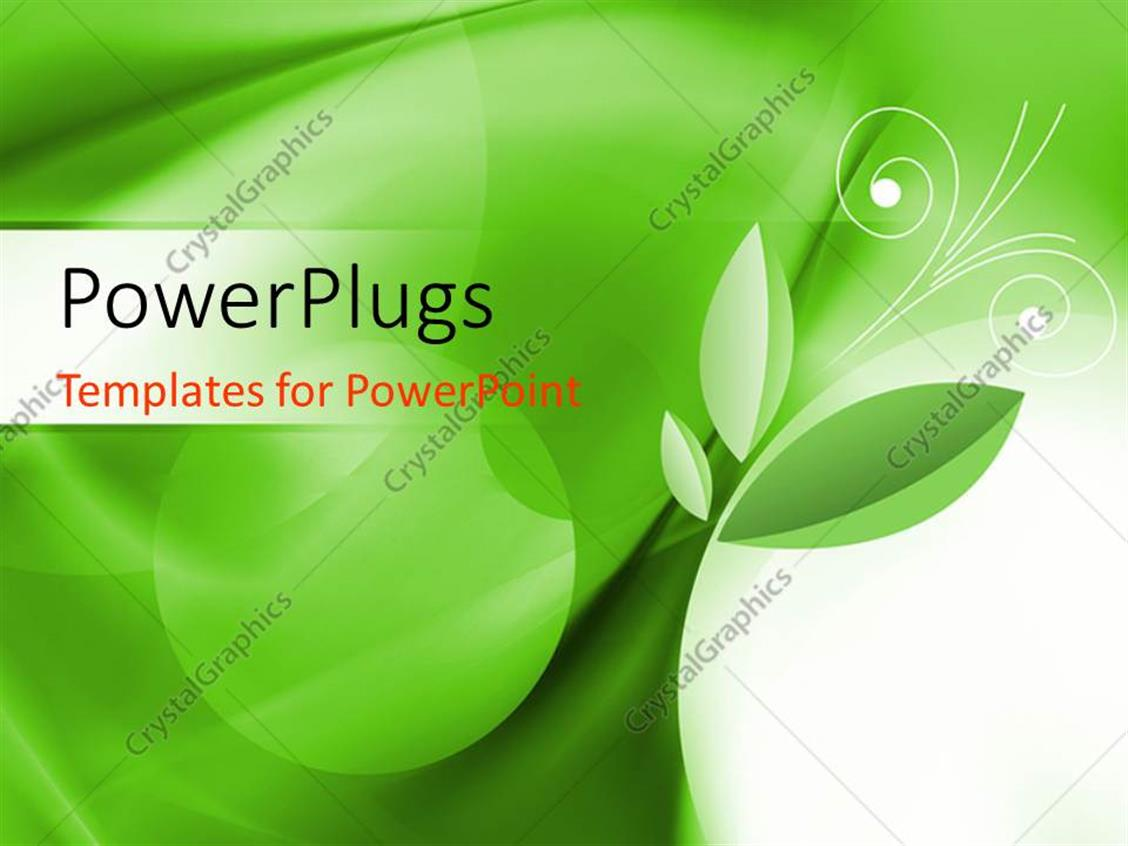 PowerPoint Template Displaying a Floral Background with Greenish Color