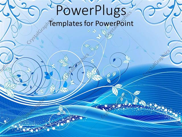 PowerPoint Template Displaying Floral Background with White and Different Shades of Blue