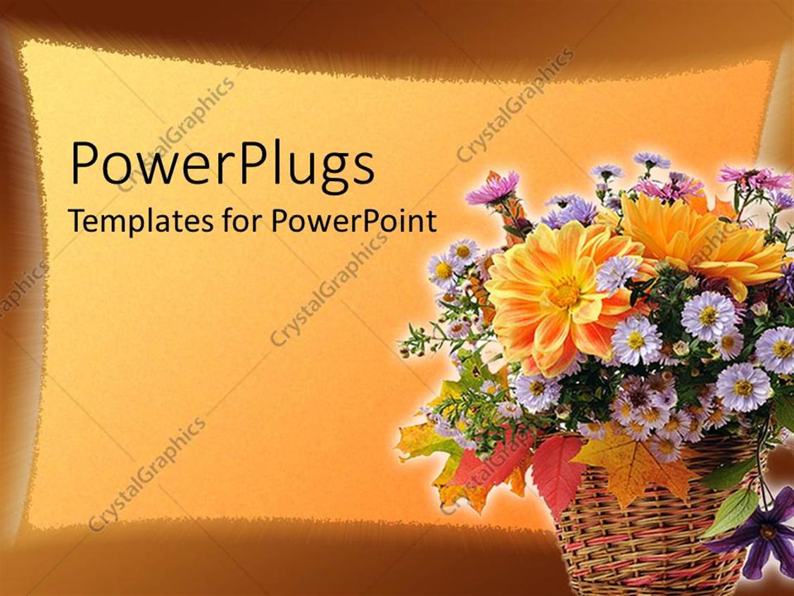 PowerPoint Template Displaying a Flower Basket with Orange Background and Place for Text