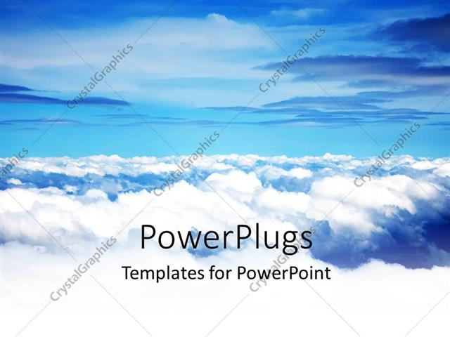 Powerpoint Template Fluffy White Clouds Against Blue Sky Background