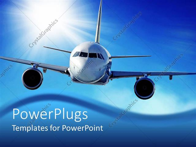 Powerpoint Template Flying Airplane In The Sky With Sun In The