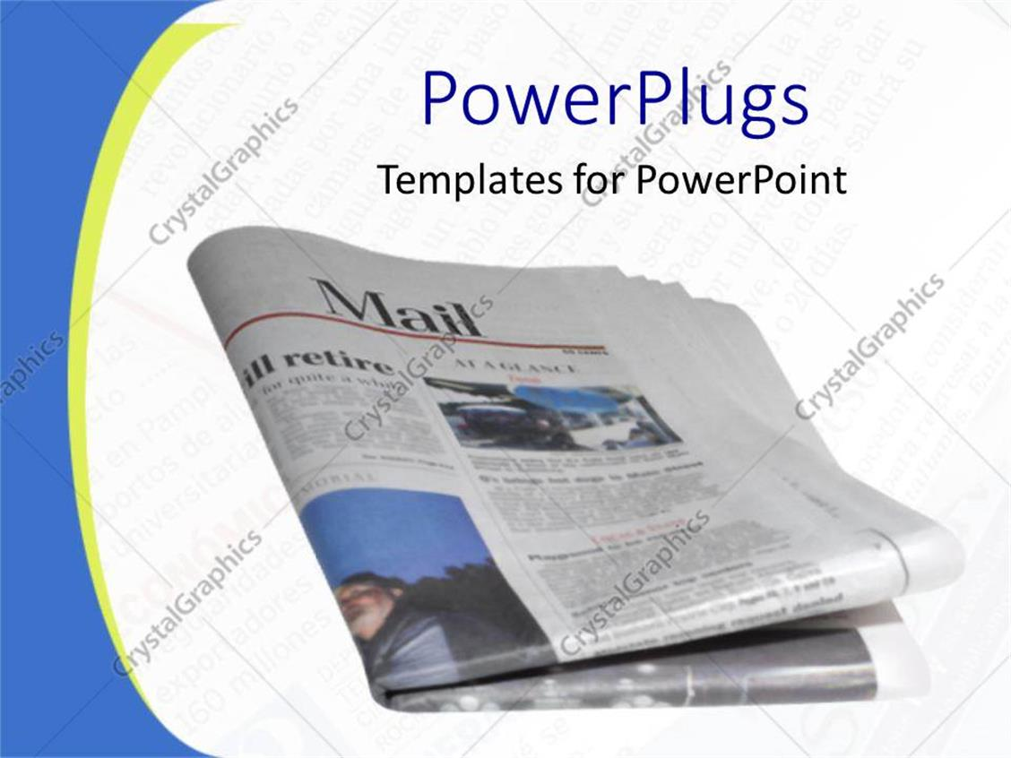 PowerPoint Template Displaying Folded Newspaper on Faded Newsprint Background, Blue and Yellow Border