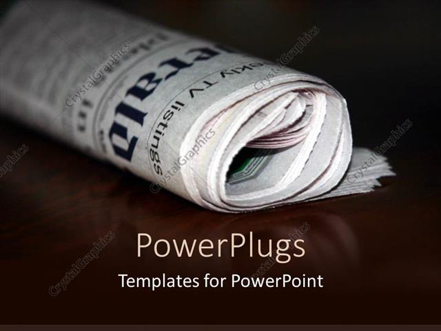 PowerPoint Template Displaying a Folded Newspaper with its Reflection in the Background