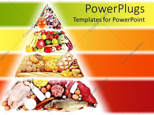 Powerpoint Template Food Pyramid Containing Foods For A Healthy