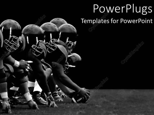 powerpoint template football players hike black and white teamwork