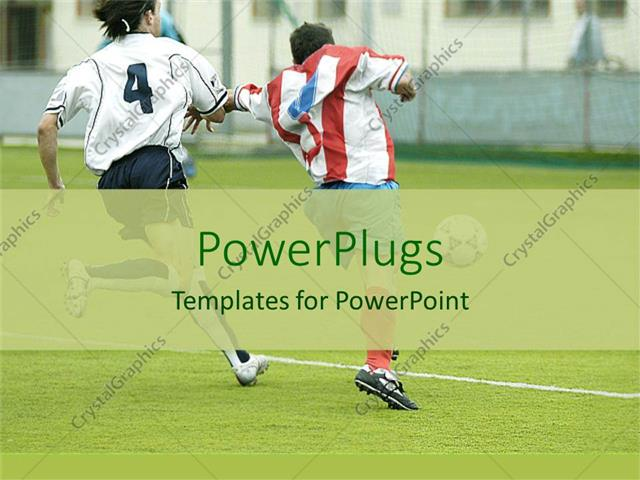 Powerpoint Template Football Players Running For The Control Of The