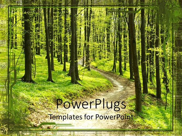 PowerPoint Template Displaying Footpath in Middle of Green Forest